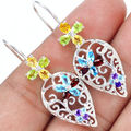 Genuine Citrine Garnet Blue Topaz Earrings 925 Solid Sterling Silver KE0181