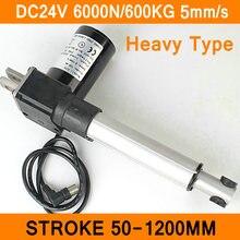 Линейный привод 24 в двигатель постоянного тока сверхмощный 6000N 600 кг 1320LBS 5 мм/сек. Ход 50-1200 мм электродвигатель нагрузки IP54 Al сплав CE RoHS ISO
