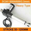 Linear Actuator 24V DC Motor Heavy Duty 6000N 600KG 1320LBS 5mm/s Stroke 50-1200mm Electric Load Motor IP54 Al Alloy CE RoHS ISO