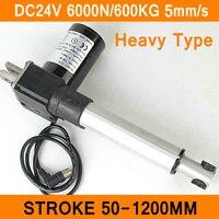 Linear Actuator 24V DC Motor Heavy Duty 6000N 600KG 1320LBS 5mm/s Stroke 50 1200mm Electric Load Motor IP54 Al Alloy CE RoHS ISO