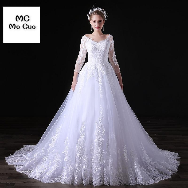 Haute qualité nouvelle Robe De Mariage Robe De bal robes De mariée 3/4 manches Tulle Robe De mariée Robe De mariée taille personnalisée