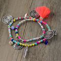 2017 New Arrived Exquisite Rainbow Tibet Silver Cooin Jewelry Crystal Beads String Bracelets Red Tassel Pendants for Lady Party