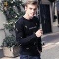 Envío Libre de los Nuevos hombres Masculinos FanZhuan Color plátano bordado suéter caliente ocasional de la manera personalizada delgado largo sleevd pullover