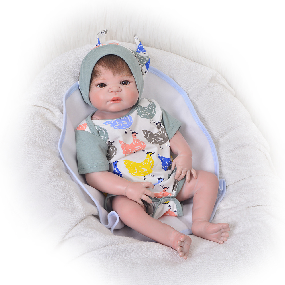 Fashion 23 Inch Realistic Reborn Boy Doll 57 cm Full Silicone Vinyl Newborn Babies Dolls Bonecas Reborn Kid Gift Playmate Toys pursue 22 57 cm bathe boy doll reborn full silicone vinyl body reborn babies dolls toys for children boy girl christmas gift
