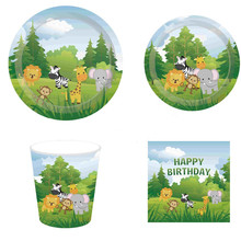 Jungle Safari Party Disposable Tableware Set Animal Plates/Cups/Napkins Baby Shower Supplies