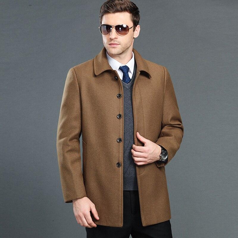 Haute qualité hommes hiver chaud cachemire laine manteau pardessus marque vêtements pardessus laine veste Trench taille M L XL XXL XXXL 4XL-in Laine et mélanges from Vêtements homme    1