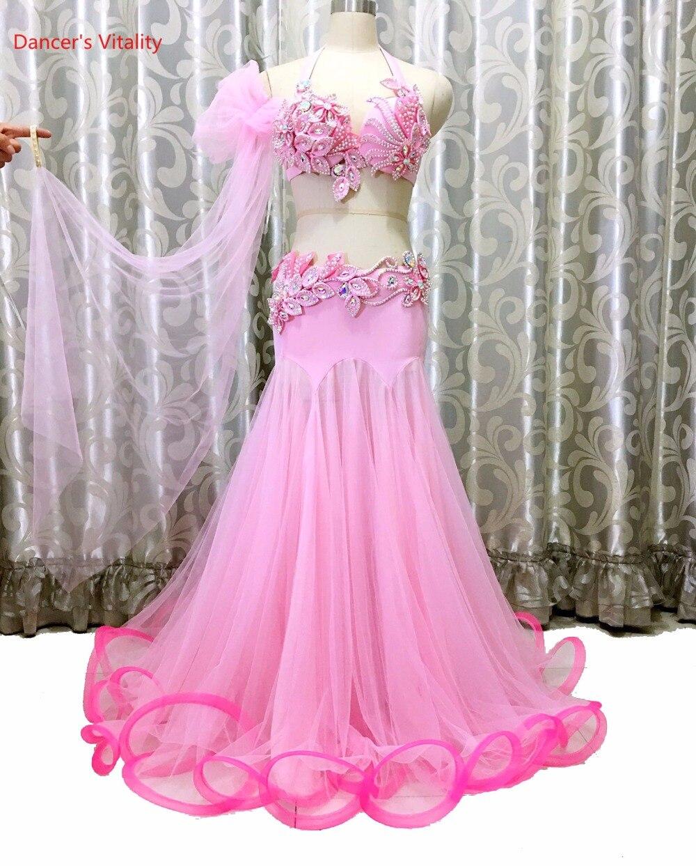 Dancer's Vitality Belly Dance Costumes Diamond Embroidery Bra Shoulder Cupcake Dress Bellydance Set For Oriental Dance Costumes