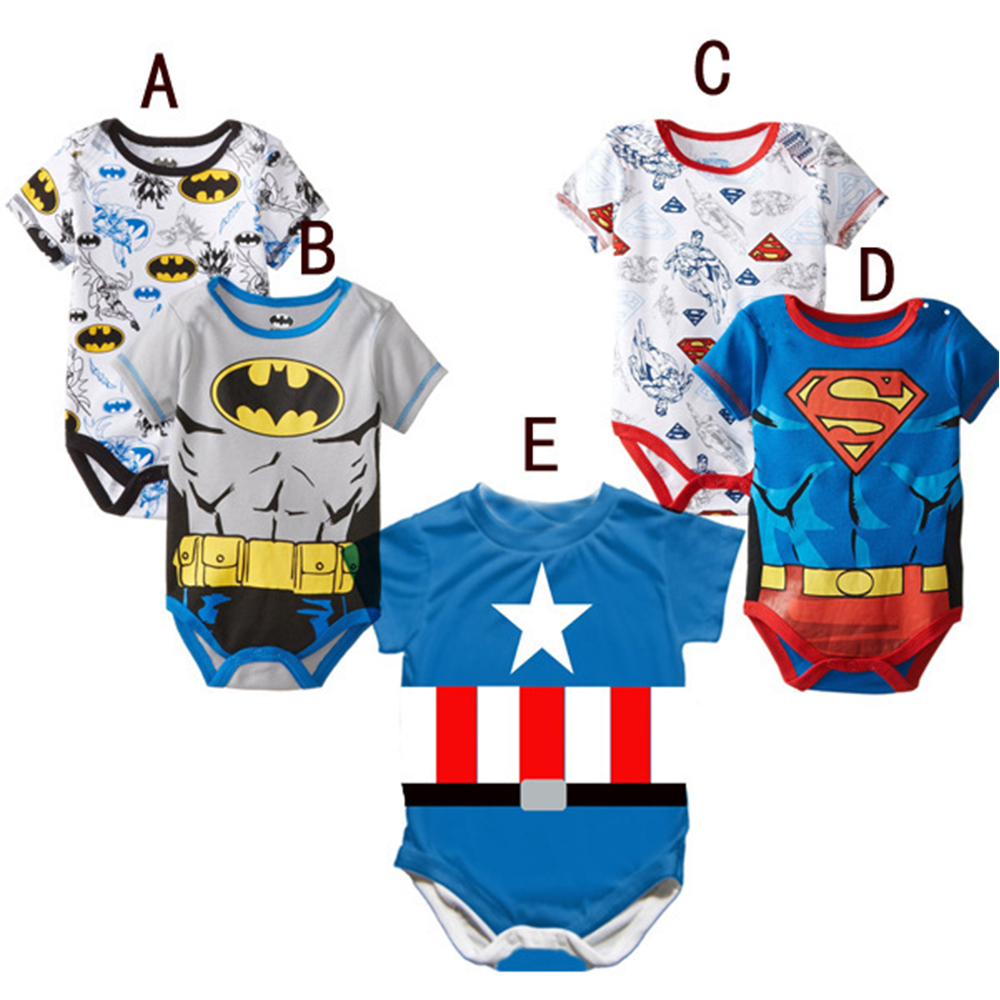 Soft baby shirt Super Hero Captain America Costume SpiderMan Batman Avengers jumpsuits Cosplay for Kids Children Boy