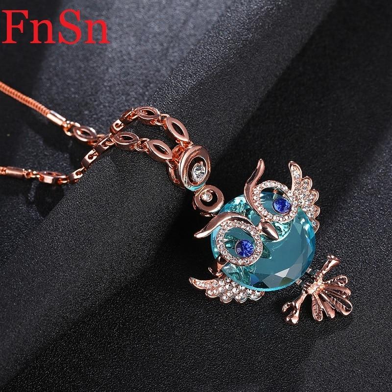 Armastus Owl ripats kaelakee naiste kristall kaelakeed kaelakeed - Mood ehteid - Foto 6