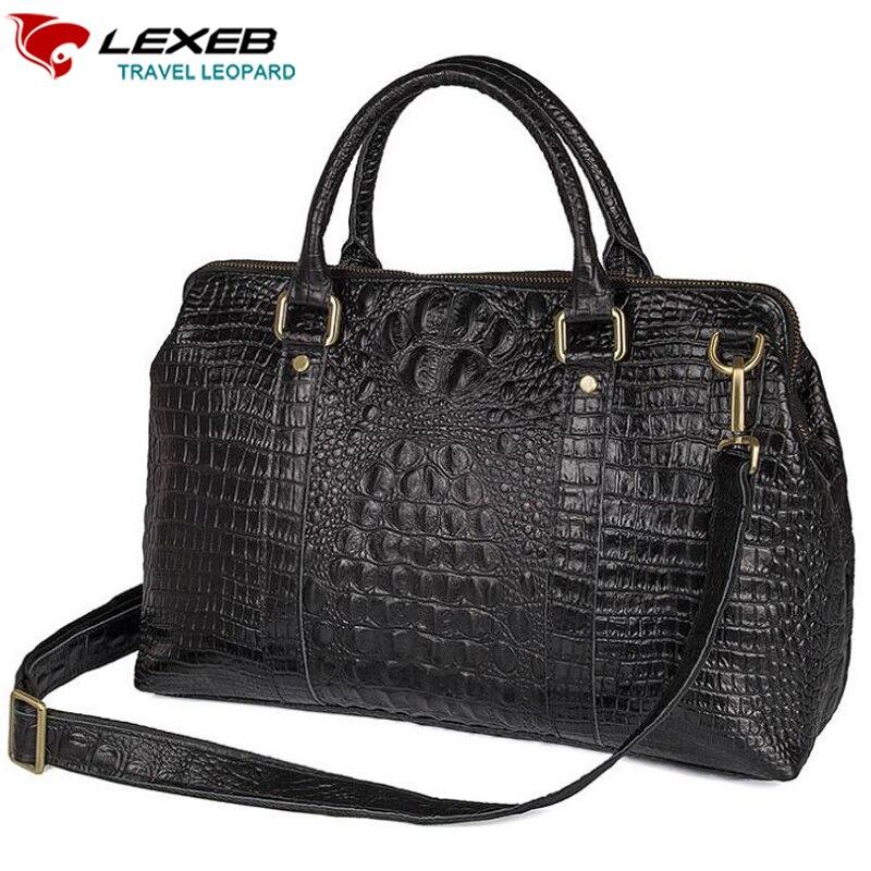 LEXEB Elegant Alligator Patent Leather Laptop Travel Duffle Bag For Men 15 Inch Overnight Weekender Bags Carry On Luggage Black men s alligator head patterned elegant split leather belt w smooth buckle black