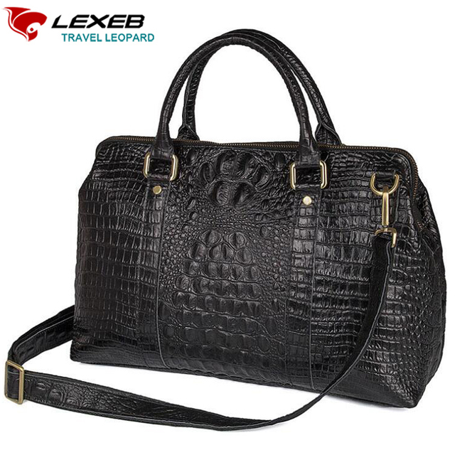 e803f20749 LEXEB Elegant Alligator Patent Leather Laptop Travel Duffle Bag For Men 15  Inch Overnight Weekender Bags Carry On Luggage Black