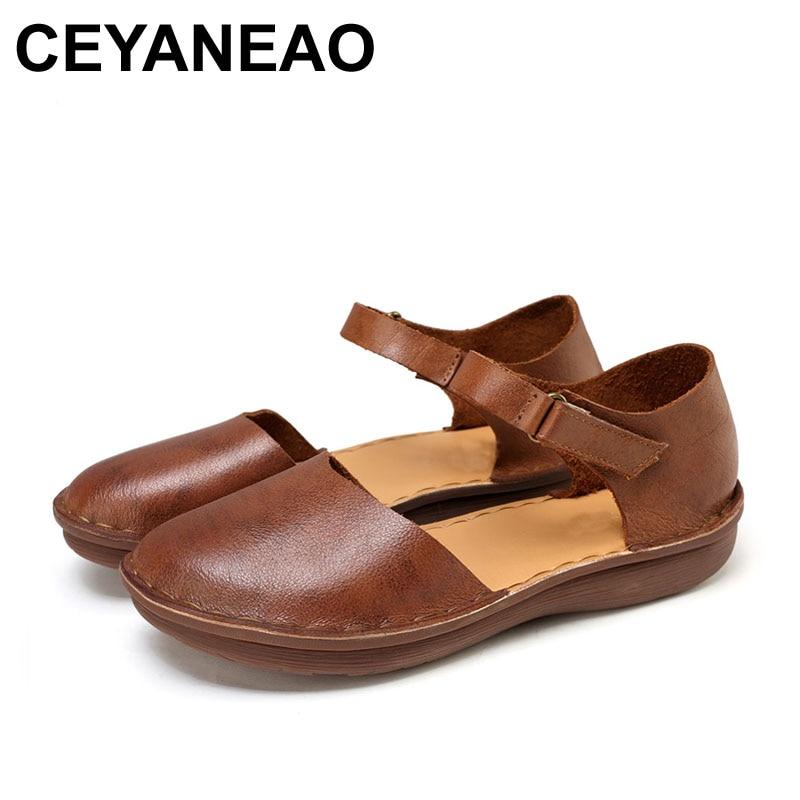 CEYANEAO 2018 Summer Sandals Genuine Leather Women Shoes Classic Design 656 classic leather sandals classic leather sandals women sandals summer sandals
