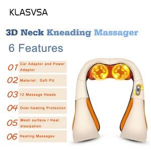 Image 3 - KLASVSA 12 Massage Heads Sưởi Ấm Cổ Vai Nhào Massager Cổ Tử Cung Điều Trị Chăm Sóc Sức Khỏe Lại Eo Pain Relief Thư Giãn