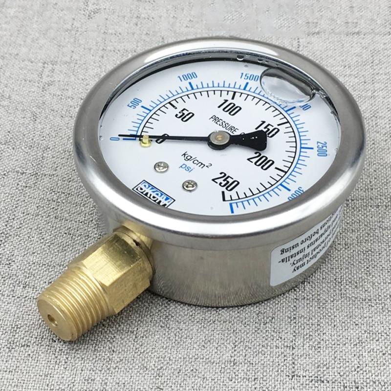 Stainless steel YN-60 shock-proof pressure gauge ,oil pressure gauge, 10KG/100KG//150KG/200KG/250kg Hydraulic pressure gauge цена