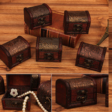 Hot Vintage Metal Lock Jewelry Storage Box Treasure Chest Case Holder Handmade Wooden Ring Necklace Container Gift