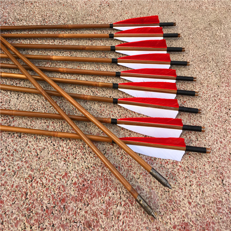 12Pcs Bamboo Arrow Handmede For 20 70IBS Bow Hunting Archery With 2red 1White Feather 32