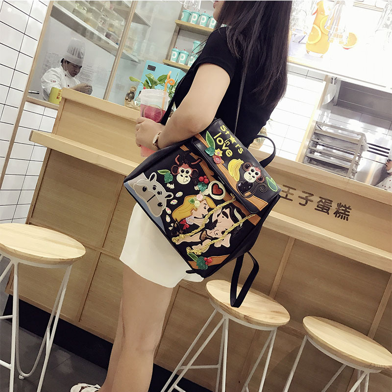 2019 New Women 39 s Bag Fashion Cartoon Embroidered High Quality PU Leather Backpack Student Embroidered School Bag Travel Backpack in Backpacks from Luggage amp Bags