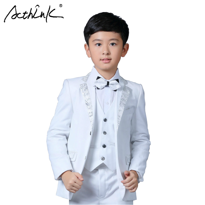 ActhInK New Boys White Blazer Wedding Suit Brand Kids 4PCS Formal Suit with Bowtie Flower Boys