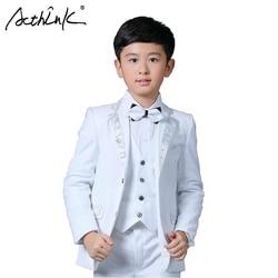 ActhInK New Boys White Blazer Wedding Suit Brand Kids 4PCS Formal Suit with Bowtie Flower Boys Party Tuxedos Costume Suit, C269