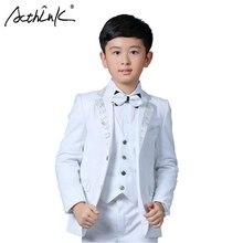 ActhInK New Boys White Blazer Wedding Suit Brand Kids 4PCS F