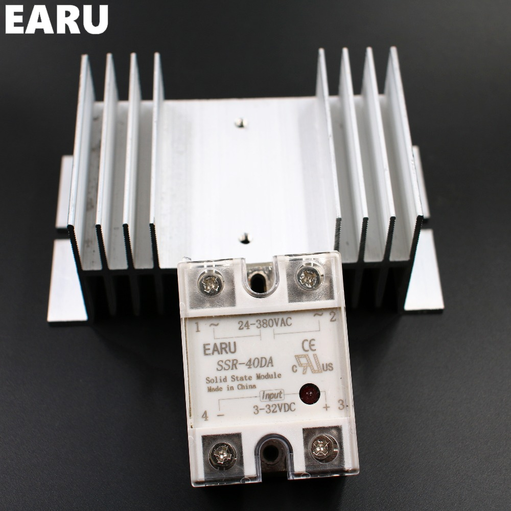 цена на 1 pc SSR-40DA Solid State Relay Module SSR-40 DA 40A Hot Sale Quality + 1 pc M / W type Heatsink Aluminum Radiator Combination