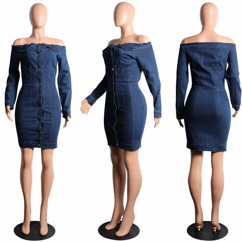 9347914df84 ... Women Off The Shoulder Denim Dress Long Sleeve Sexy Slash Neck Button  Down Bodycon Dress Autumn ...