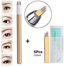 Permanent Makeup Eyebrow Tattoo Kit Golden Microblade Tebori Pen+5pcs 12Pin Needle Blade For Lip And Eye Brow Tattoo Equipment