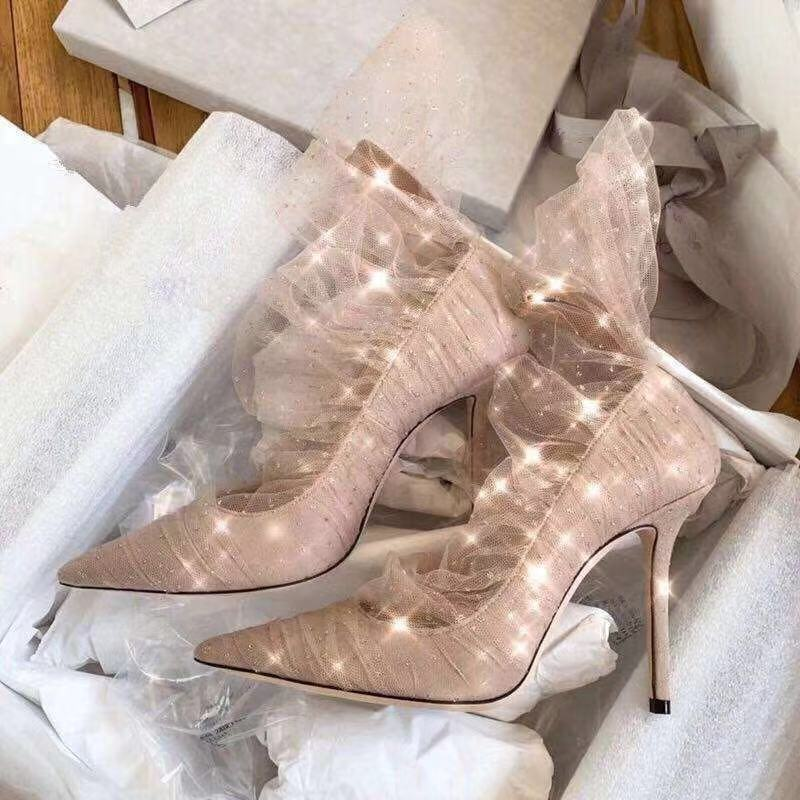 2019 Newest Pink Suede Pump Pointed toe Gold Glitter Tulle Bootie Women Shoes High Heels Elegant Wedding Heels Bride Shoes in Women 39 s Pumps from Shoes