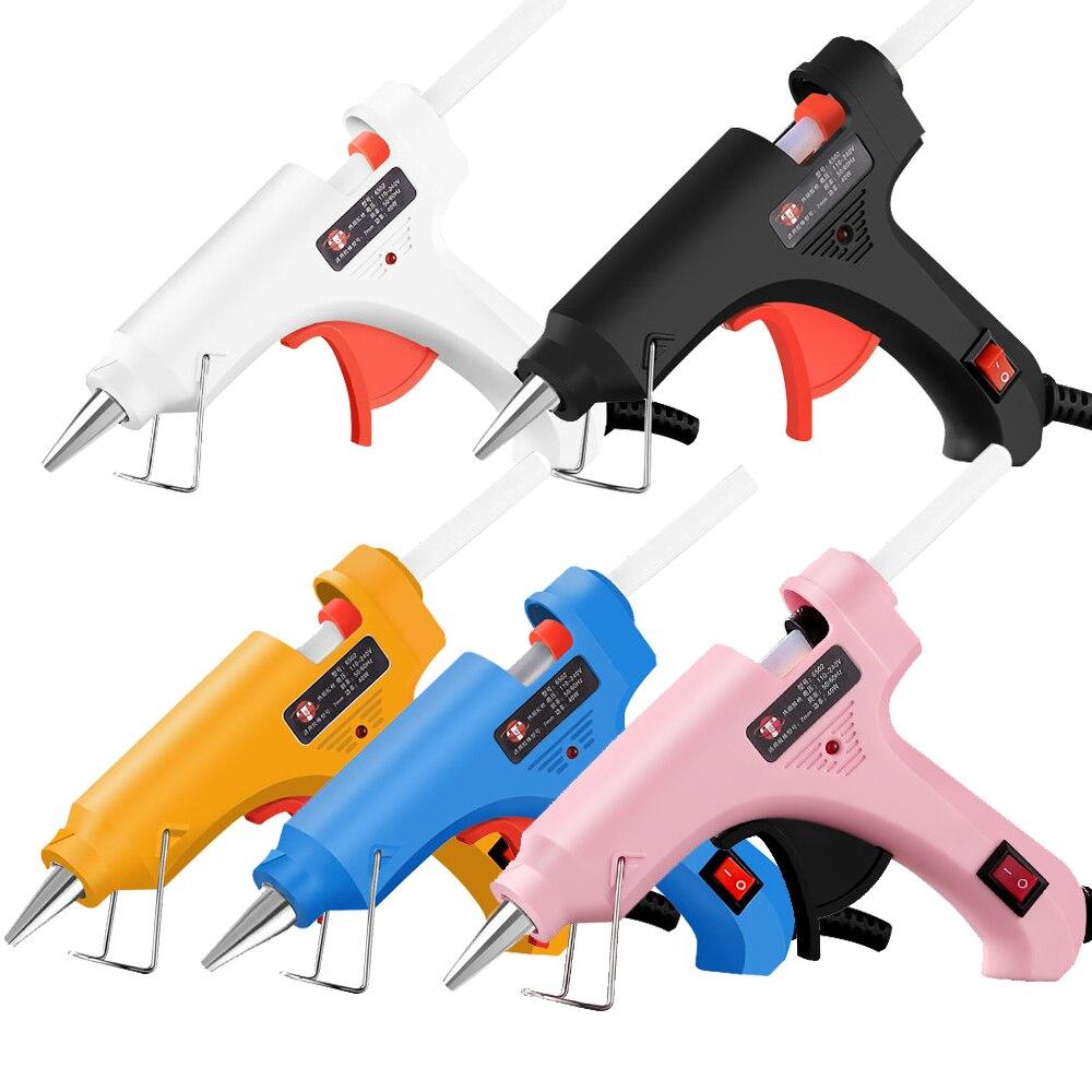 מיני חם דבק אקדח 30W טמפרטורה גבוהה דבק אקדח עבור DIY מלאכות, פרויקטים, מהיר תיקונים בבית יצירתי אמנויות, עם 6pcs דבק מקלות