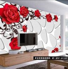 ウォールペーパー壁画ロールレストランカフェ d ShineHome-レッドローズレンガの壁紙リビングルームの寝室のための 3