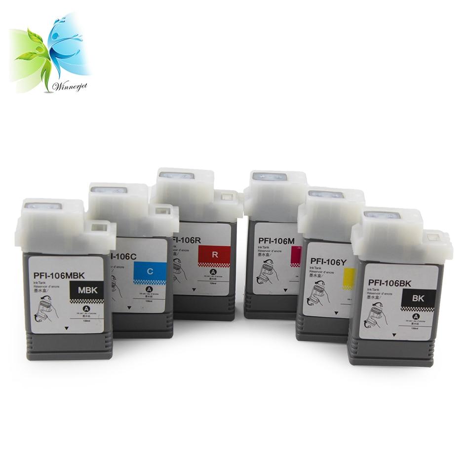 WINNERJET 6 Colors 130ML PFI-106 PFI 106 PFI106 Ink Cartridge for Canon IPF6400SE IPF 6400SE Printer