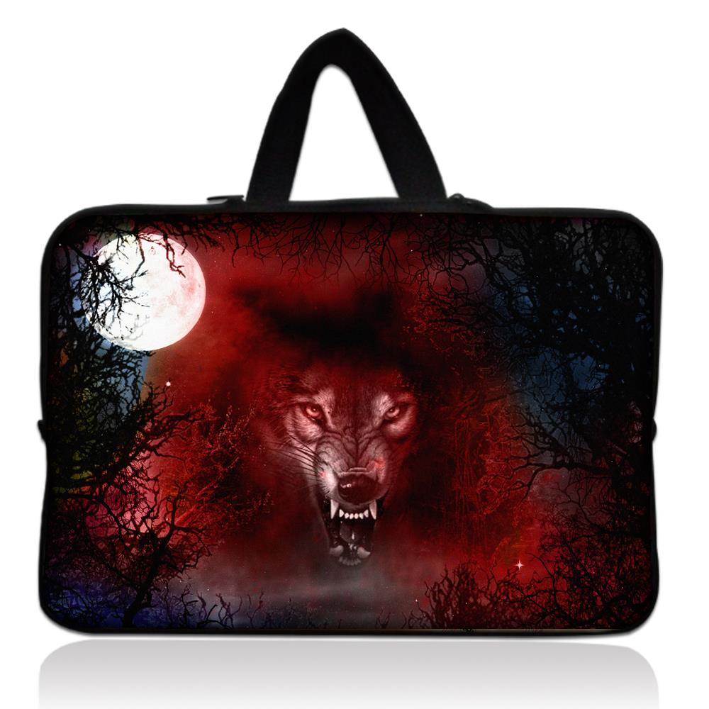 "13"" Wolf Neoprene Soft Laptop Netbook Sleeve Bag Case Cover +Hide Handle For Macbook Pro 13.3 inch for HP Dell Sony"