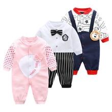 Spring-autumn Newborn Baby Clothing Rompers 2019 New Long Sleeved Cartoon Animal Jumpsuit 0-1y Boys Gentleman Pajamas