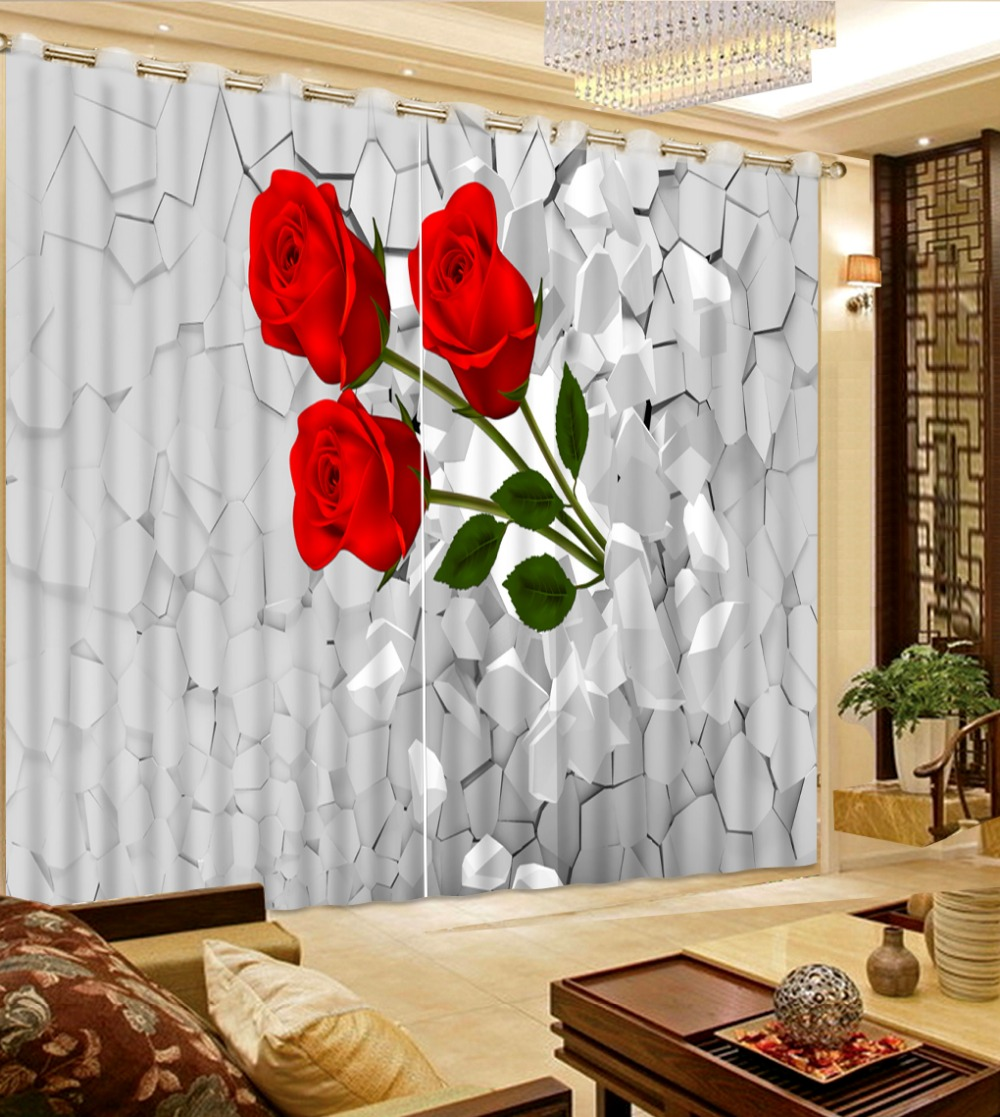 Modern Home Custom Broken Brick Red Flower Curtains For