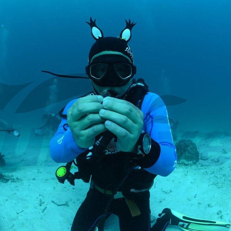 Rational 3 Mm Aplysia Submersible Wigs Thermal Snorkeling Gift Cartoon Black Red Snorkeling Cap Nudibranch Sea Cap