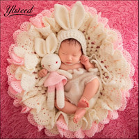 3pcs Set Newborn Photography Blanket Pink Rabbit Photo Props Beanies Hollow Crochet Bear Hats Knitted Blanket