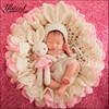 3pcs Set Newborn Photography Blanket Pink Rabbit Photo Props Beanies Hollow Crochet Bear Hats Knitted Blanket