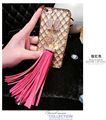 Phone Accessories Gold Leather Tassel Keychain For Women Crystal Rose Flower Key Chain Keyring porte cle chaveiros sleutelhanger