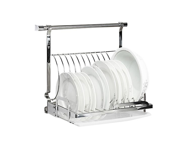 Stainless steel kitchen plates dishes draining rack space saving storage kitchen cupboard racks - Dish rack for small space collection ...