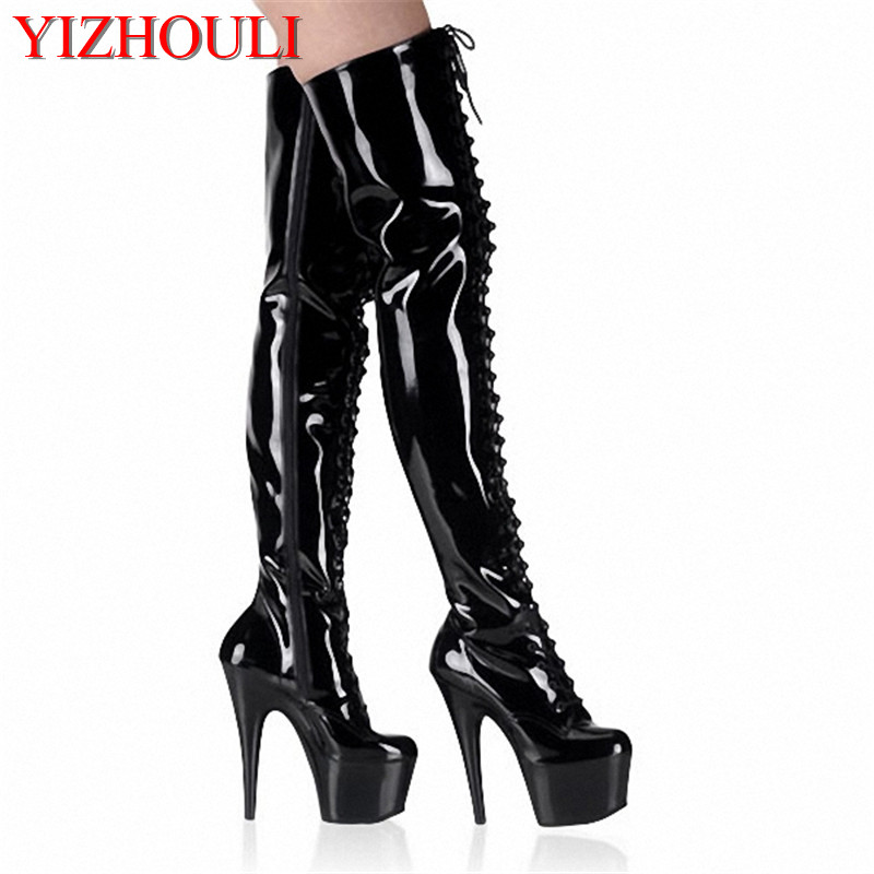 Olivia Shoes 6 Inch Pointed Stiletto High Heels Platforms Thigh High Sexy Boots 15cm Front Strap Fashion Boots Sexy Dance Shoes
