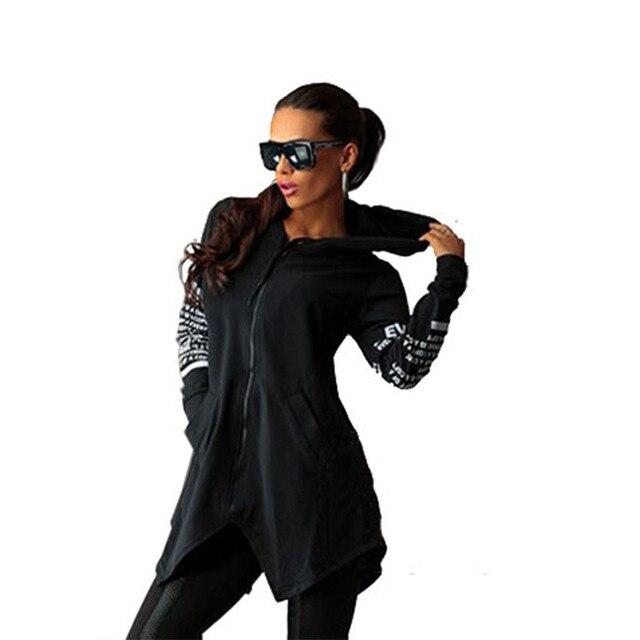 2016 новых Осенью и зимой женщины основные пальто бомбардировщик мода письмо печати с капюшоном пальто женщин молнии С Длинным рукавом кардиган ткань
