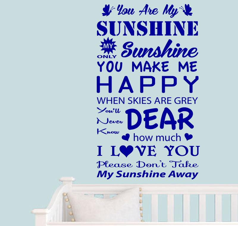 Wall Stickers Quotes You Are My SUNSHINE Decals Vinyl Removable - Wall decals you are my sunshine
