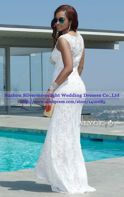 Elegant Cap Sleeves Mermaid Evening Dress New Fashionable White Lace ...