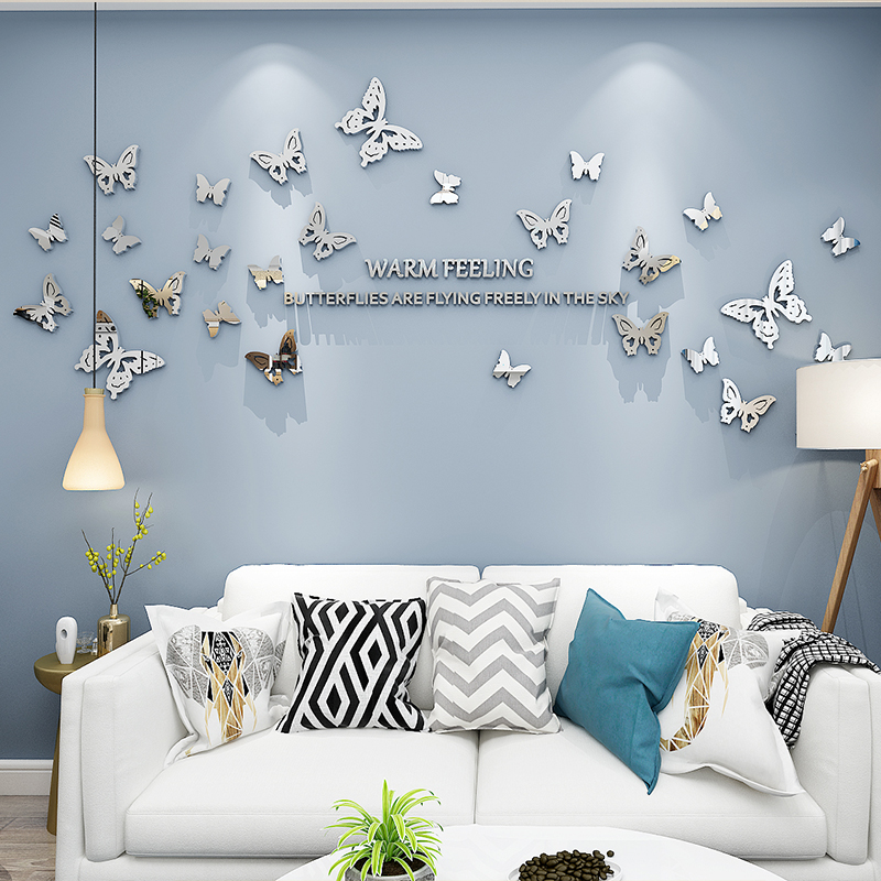 DIY Mirror Wall Sticker Acrylic Butterflies Flying Mirror DIY Moon Sun Wall Sticker Removable Decal Acylic Crystal Vinyl Mirror Surface Art Wall Decoration for Bedroom Living Room Home Decor