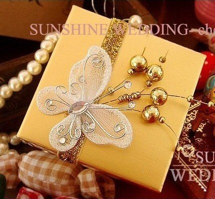 Candy box gift box with butterfly decoration tha70 for Application box decoration