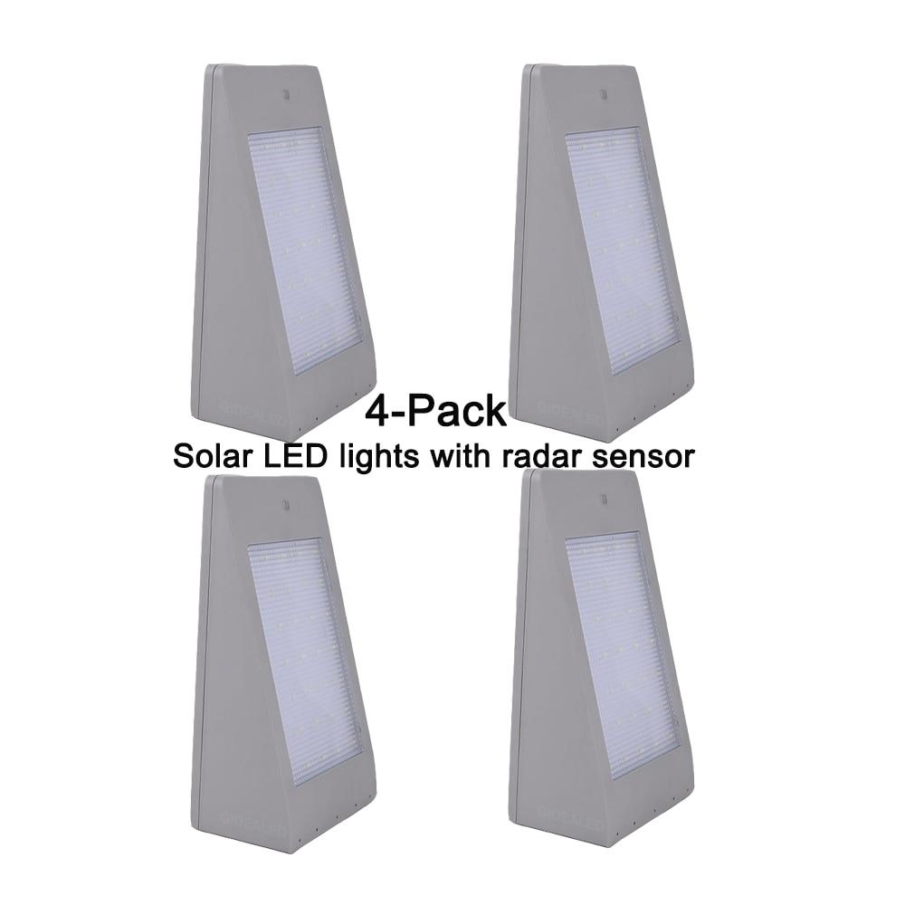 4-pack radar sensor solar led Street light outdoor garden lights Waterproof IP65 led door Lamp for solar power