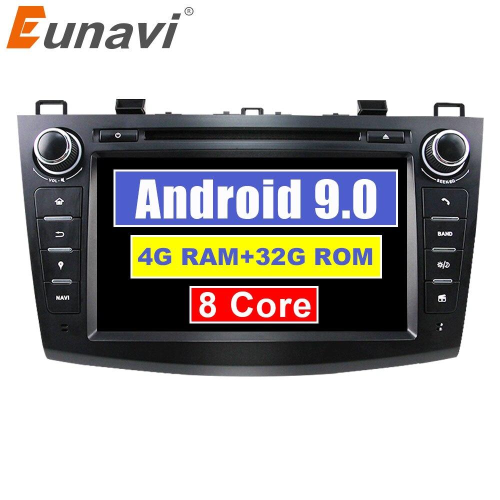 Octa Núcleo 2 Eunavi din 8 ''Android 9.0 DVD Player Do Carro para 2010 2011 2012 2013 MAZDA 3 estéreo rádio Navegação GPS wifi bt usb sd