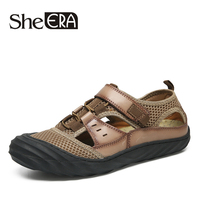 She ERA Brand Men Genuine Leather Sandals Brand Summer Shoes for Men Outdoor Beach Anti skid Walking Sport Man Footwear Shoes
