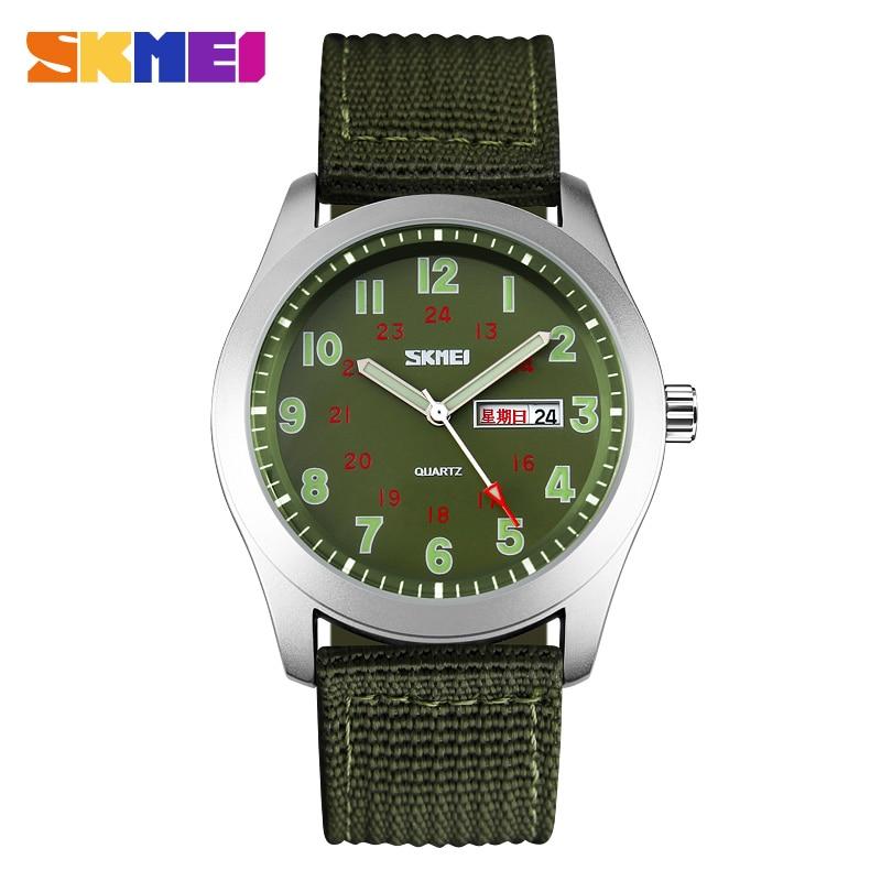 Image 2 - SKMEI Luxury Brand Military Watch Men Quartz Analog Clock Nylon Strap Clock Man Sports Watches Army Relogios Masculinoclock controlwatch cheapclock message -