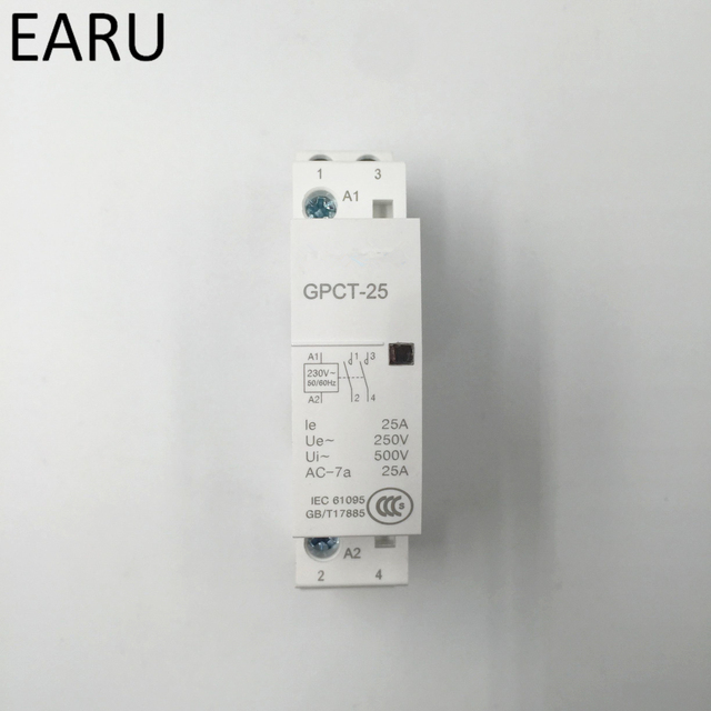 Free Shipping GPCT1 2P 16A 25A 220V/230V 50/60HZ Din Rail Household Ac Contactor 2NO for Household Home Hotel Resturant